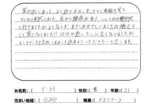 江東区北砂 腰痛 20代男性 Y.Hさん